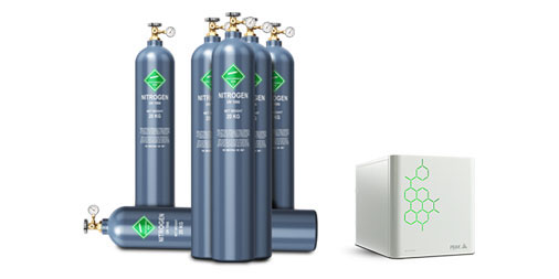 Gas cylinders and a gas generator